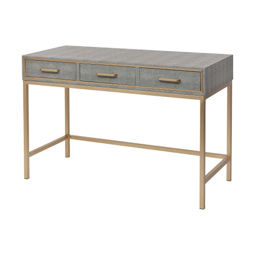 """47"""" ELK Home Sands Point 3-Drawer Desk in Grey and Gold, Modern / Contemporary - 1"""