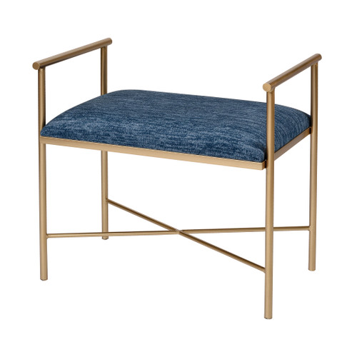 """25"""" ELK Home Blue Grand Bench in Navy Blue Chenille and Gold, Traditional - 1"""
