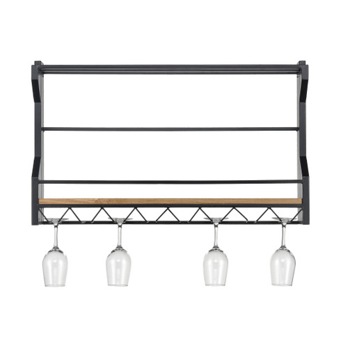 "32"" ELK Home Wavertree Hanging Wine and Glass Rack in Black and Natural Fir Wood, Transitional - 1"