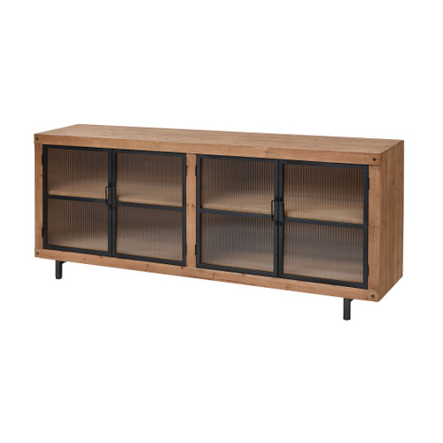 "71"" ELK Home Institution Media Unit in Natural Wood Tone and Black, Transitional - 1"