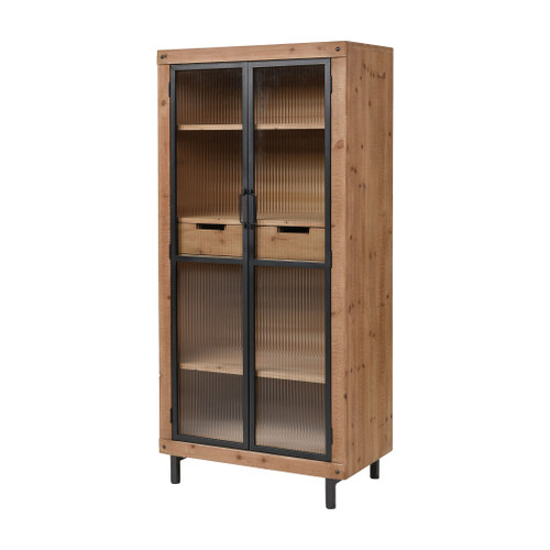 """59"""" ELK Home Institution Shelves in Natural Wood Tone and Black, Transitional - 1"""