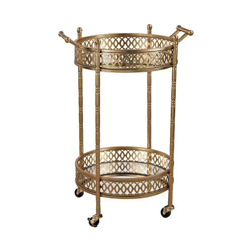 "27"" ELK Home Julep Banded Round Bar Cart with Gold Leaf Metalwork, Traditional - 1"