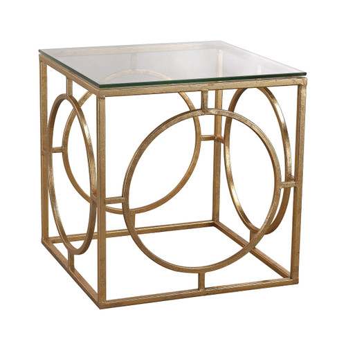 "17"" ELK Home Gold-Leafed Ring and Glass Accent Table, Transitional - 1"