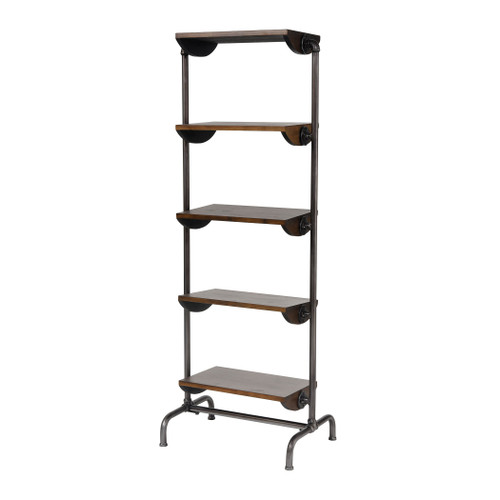 """62"""" ELK Home industry City Bookcase in Black and Natural Wood Tone, Transitional - 1"""