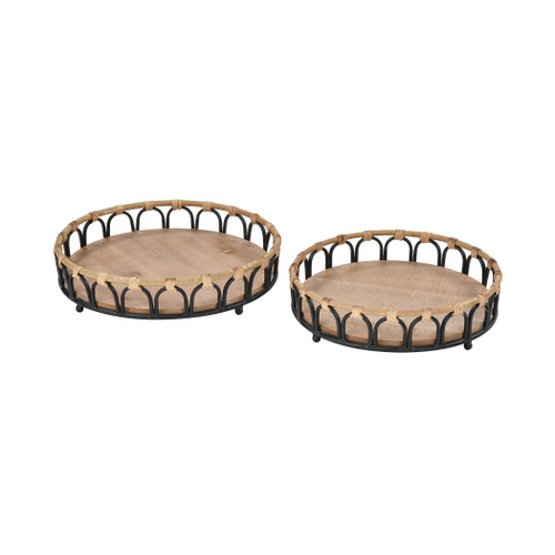 "Set of 2 ELK Home Fisher Island Trays, Transitional 16"" - 1"