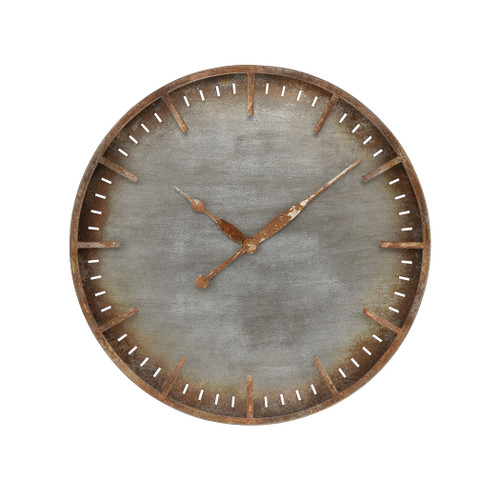 "24"" ELK Home Ironhull Wall Clock in Rusted Pewter and Rust, Transitional - 1"