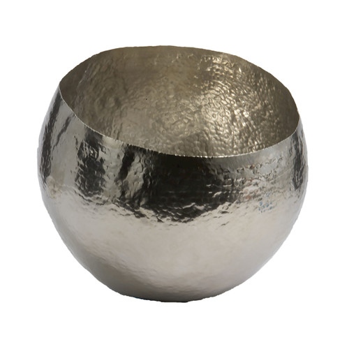 """10"""" ELK Home Hammered Nickel and Brass Bowl - Small, Transitional - 1"""