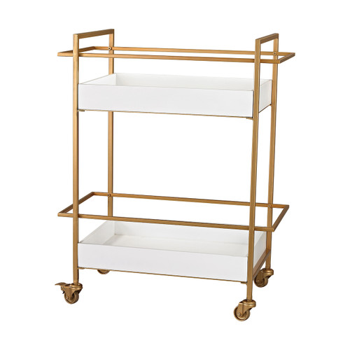 "35"" ELK Home Kline Bar Cart in White and Gold, Transitional - 1"