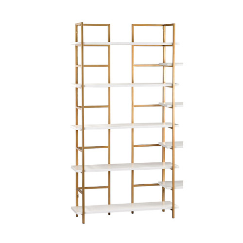"72"" ELK Home Kline Shelving Unit in White and Gold, Transitional - 1"