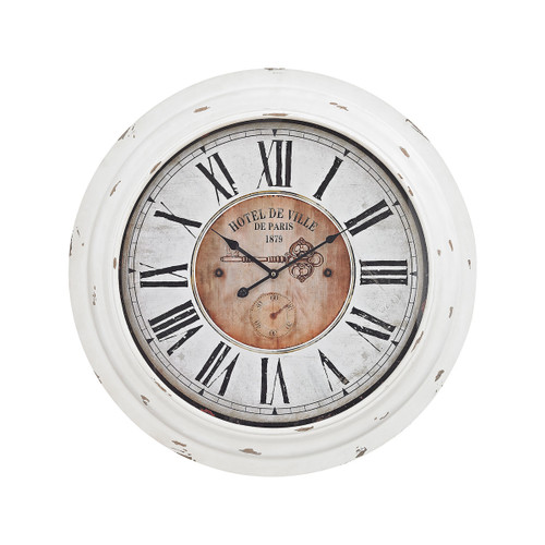 "26"" ELK Home Theodore Wall Clocking Antique White, Transitional - 1"