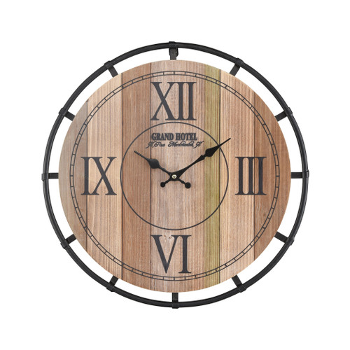 "18"" ELK Home Torino Wall Clocking Natural Wood Tone Veneer and Black, Transitional - 1"