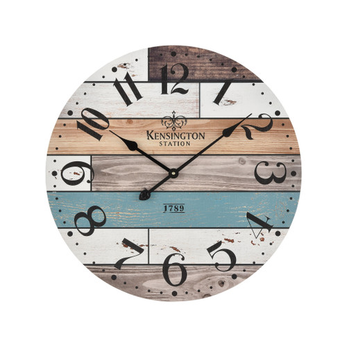 "24"" ELK Home Herrera Wall Clocking Natural wood and Blue, Transitional - 1"