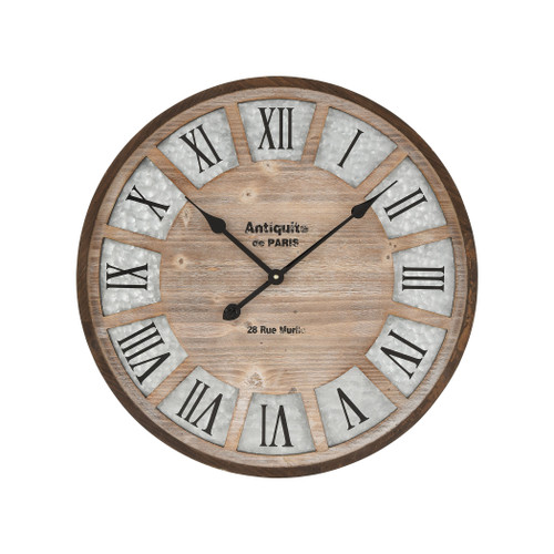 "24"" ELK Home Pollock Wall Clocking Brown and Galvanized Steel, Transitional - 1"