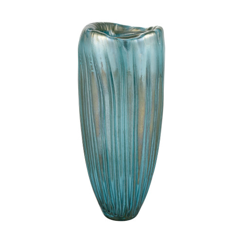 """16"""" ELK Home Sinkhole Vase in Aqua and Blue, Modern / Contemporary - 1"""