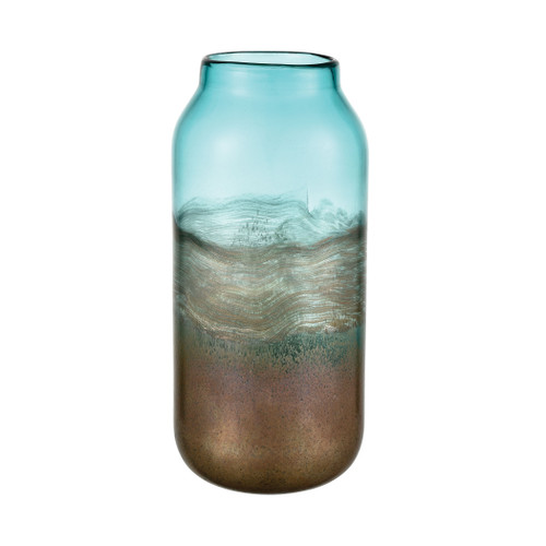 """13"""" ELK Home On the Horizon Vase in Aqua Earth and Gold, Modern / Contemporary - 1"""