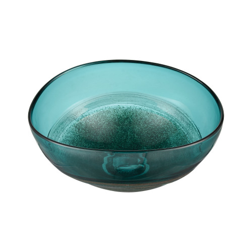 """15"""" ELK Home On the Horizon Bowl in Aqua Earth and Gold, Modern / Contemporary - 1"""
