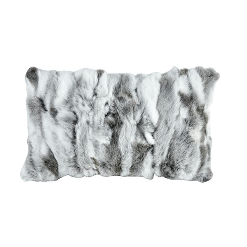 "20"" ELK Home Heavy Petting Genuine Rabbit Fur Lumbar Pillow in Grey and White, Transitional - 1"