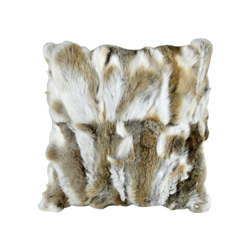 "20"" ELK Home Heavy Petting Genuine Rabbit Fur Accent Pillow in Natural Brown, Transitional 1 - 1"