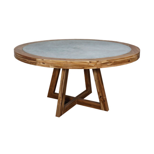 """60"""" ELK Home Orchard Dining Table in Teak and Concrete, Transitional - 1"""