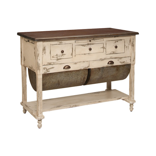 "48"" ELK Home Possum Belly Kitchen Island in Distressed Cream, Traditional - 1"