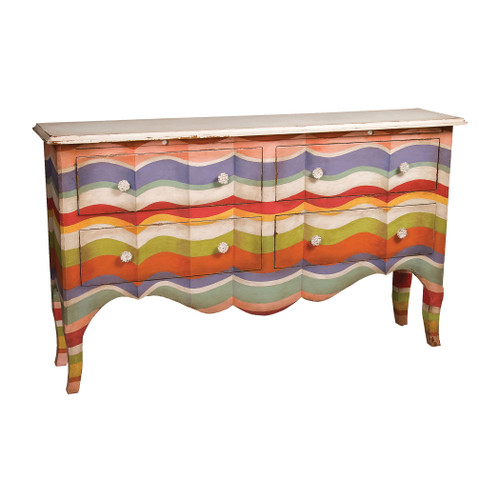 """62"""" ELK Home 4-Drawer Sideboard in Multi-color Stripes with Signature Antique White Top, Traditional - 1"""