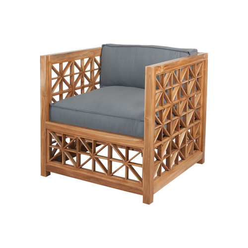 "36"" ELK Home Vincent Lattice Outdoor Chair in Euro Teak Oil, Traditional - 1"