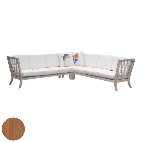 "Set of 15 ELK Home Hilton Outdoor Sectional with White Cushions, Traditional 78"" - 1"