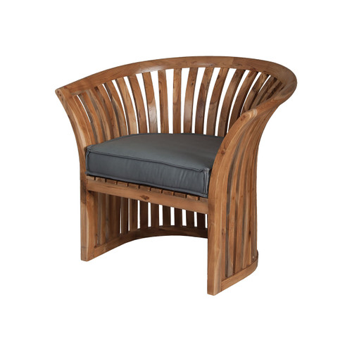 "34"" ELK Home Teak Barrel Chair in Euro Teak Oil, Traditional - 1"