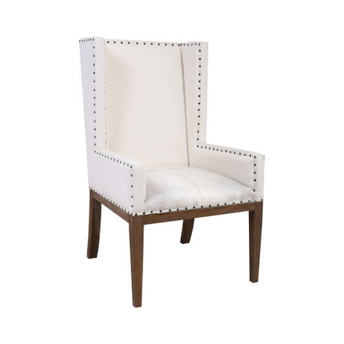 "47"" ELK Home Wesley Wingback Chair in Mahogany with White Hair-On Leather Cushion, Transitional - 1"