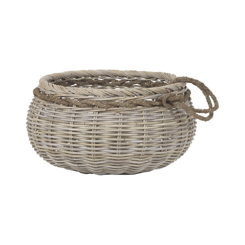 """27"""" ELK Home Sumbawa Basket in Natural Rattan And Grey Stained Rope - Large, Transitional - 1"""
