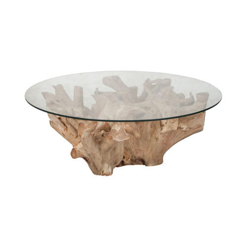 """32"""" ELK Home Yama Teak Root Cocktail Table with Glass Top in Natural, Transitional - 1"""