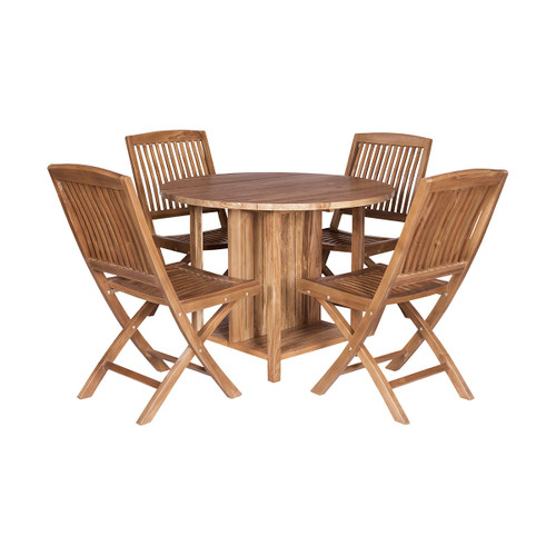 "Set of 5 ELK Home Teak Drop-leaf Game Table with 4 Chairs, Traditional 40"" - 1"