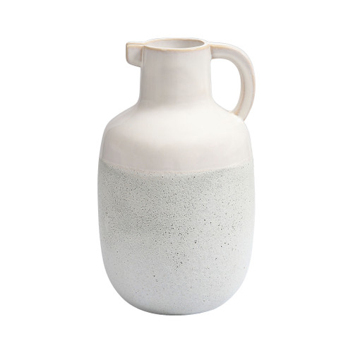 """12"""" ELK Home Concord Earthenware Pitcher in Ivory and White, Transitional - 1"""