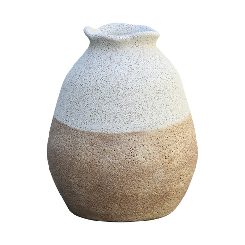 "10"" ELK Home Zucca Vase in Chalk White and Canyon Brown, Transitional - 1"