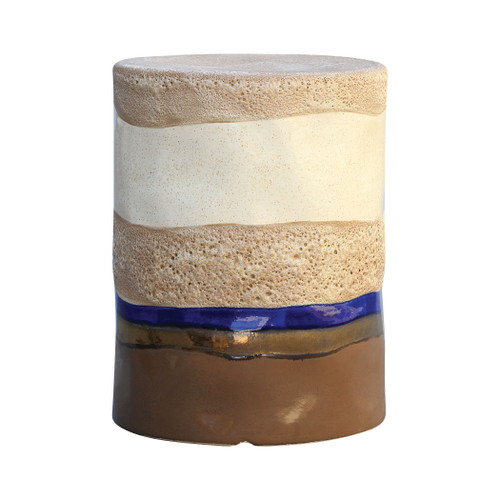 "17"" ELK Home Mangan Stool in Oatmeal, Canon Browns, and Navy, Transitional - 1"