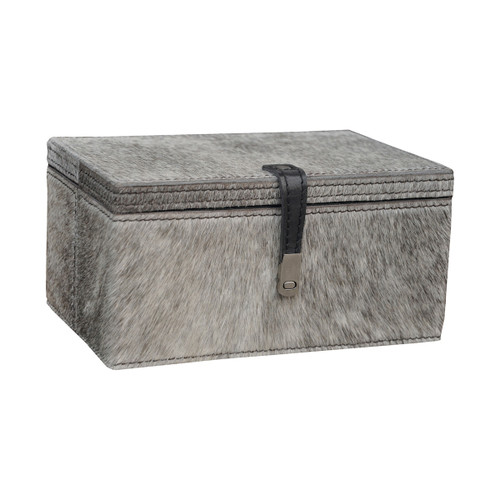 """9"""" ELK Home Small Grey Hair on Leather Box, Transitional - 1"""