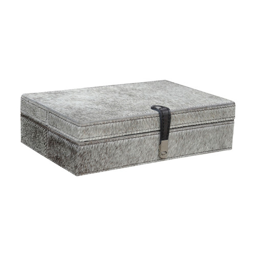 """11"""" ELK Home Large Grey Hair on Leather Box, Transitional - 1"""