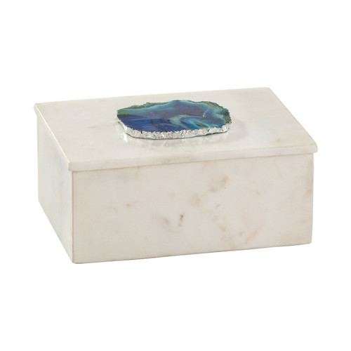 """7"""" ELK Home Marble and Blue Agate Box, Transitional - 1"""