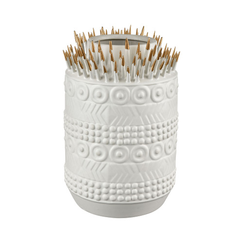 """13"""" ELK Home Thrilling Quill Vase in Matte White and Matte Gold, Modern / Contemporary - 1"""