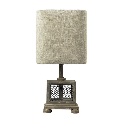 "13"" ELK Home Delambre Mini Table Lamp in Montauk Grey with Chicken Wire, Transitional - 1"