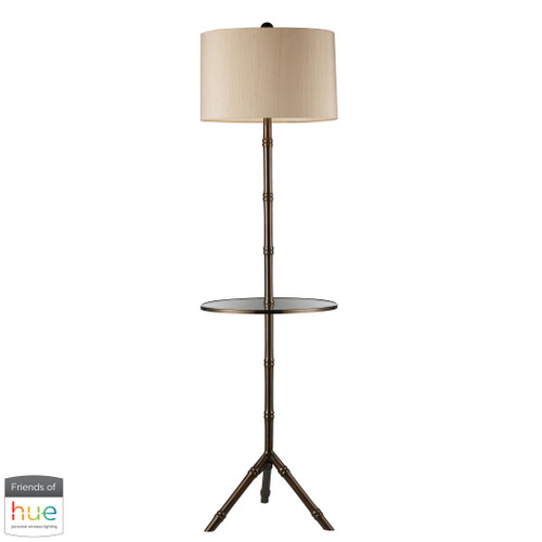 "59"" ELK Home Stanton Floor Lamp in Dun brook Finish with Glass Tray - with Philips Hue LED Bulb/Dimmer, Transitional - 1"
