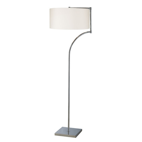 "58"" ELK Home Lancaster Floor Lamp in Chrome with Milano Pure White Shade, Modern / Contemporary - 1"