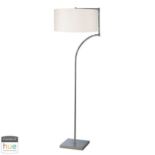 "58"" ELK Home Lancaster Floor Lamp in Chrome with Milano Pure White Shade - with Philips Hue LED Bulb/Bridge, Modern / Contemporary - 1"