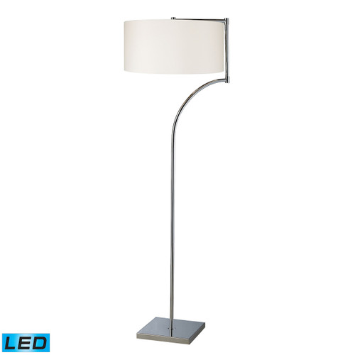 "58"" ELK Home Lancaster Floor Lamp in Chrome with Milano Pure White Shade - LED, Modern / Contemporary - 1"