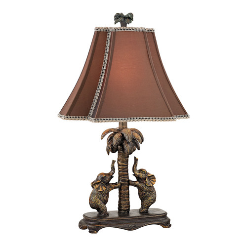 "24"" ELK Home Elephants on Palm Tree Accent Lamp, Traditional - 1"