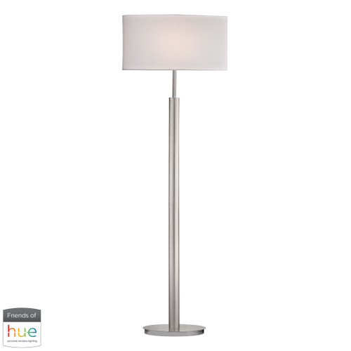 "59"" ELK Home Port Elizabeth Floor Lamp in Satin Nickel - with Philips Hue LED Bulb/Dimmer, Modern / Contemporary - 1"