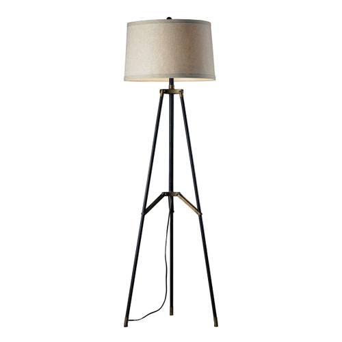 "54"" ELK Home Functional Tripod Floor Lamp in Restoration Black and Aged Gold, Transitional - 1"