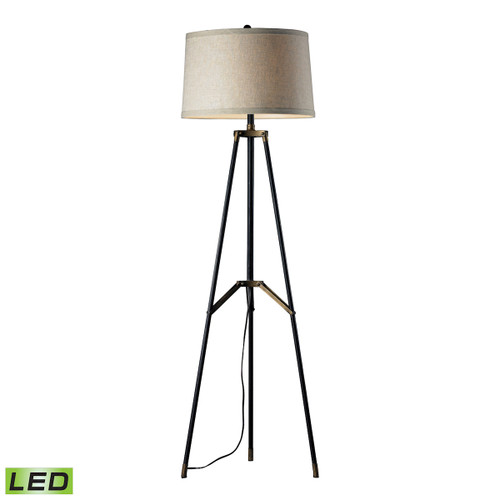 "54"" ELK Home Functional Tripod Floor Lamp in Restoration Black and Aged Gold - LED, Transitional - 1"