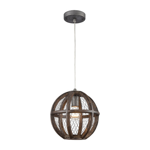 "10"" ELK Home Renaissance Invention 1-Light Mini Pendant in Aged Wood and Wire - Round, Transitional - 1"