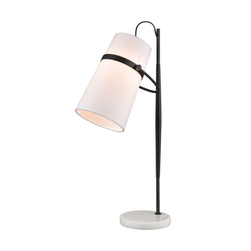 "28"" ELK Home Banded Shade Desk Lamp in Antique Brass and White Marble, Transitional - 1"